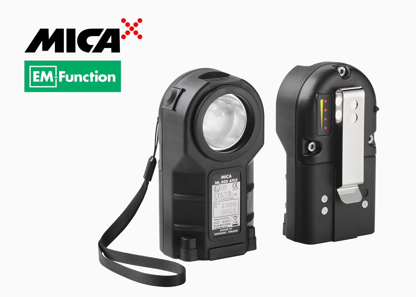 MICA ML-808 equiped with strong belt/pocket clip and wrist strap