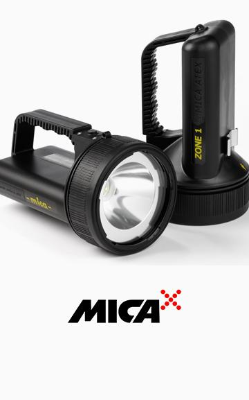 Rechargeable ATEX and IECEx certified MICA handlamps for hazardous areas.