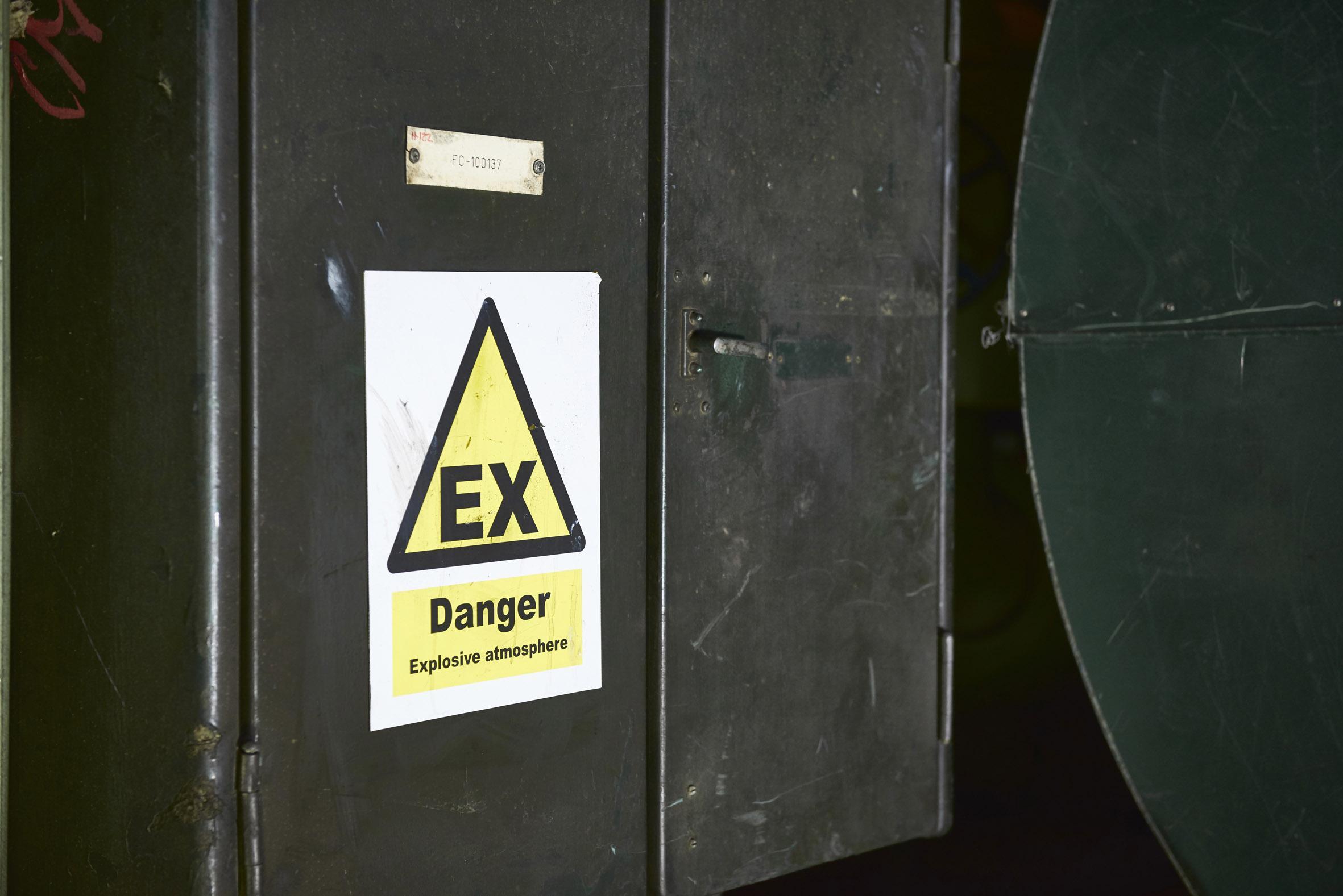 Hazardous area sign in oil refinery