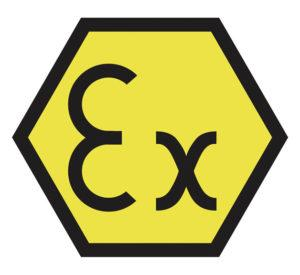 Ex logo for ATEX certified equipment