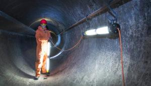 Confined Space - tunnel with temporary low voltage SLAM lighting