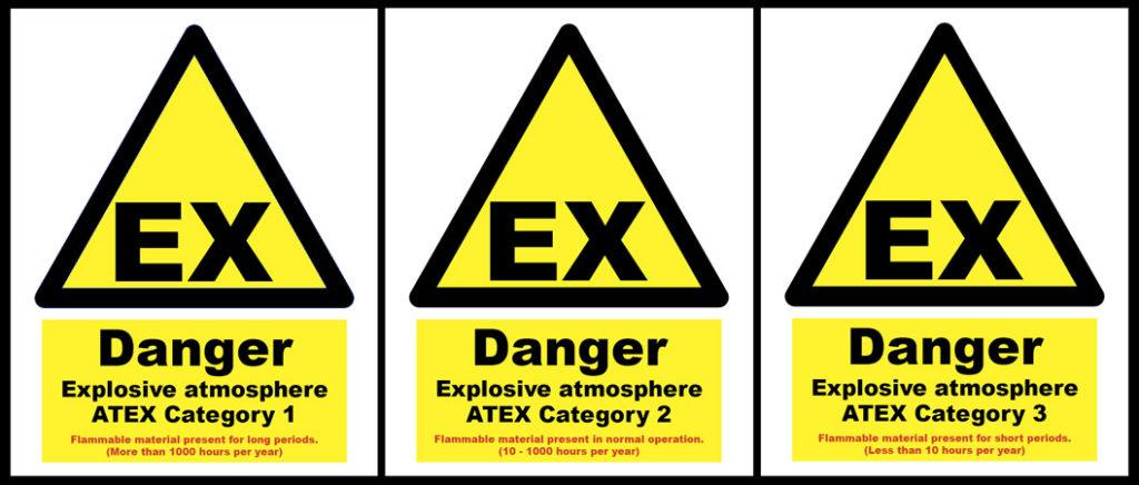 Hazardous area signs. ATEX Zone1 and Zone 2 and Zone 3.
