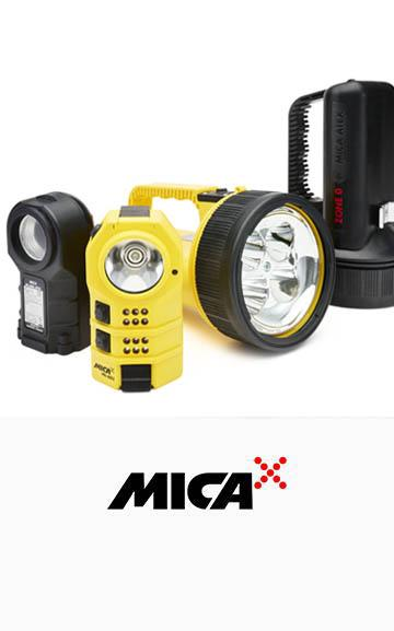 ATEX, IECEx, UKCA certified handlamps and portable signaling lamps from rechargeable MICA range..